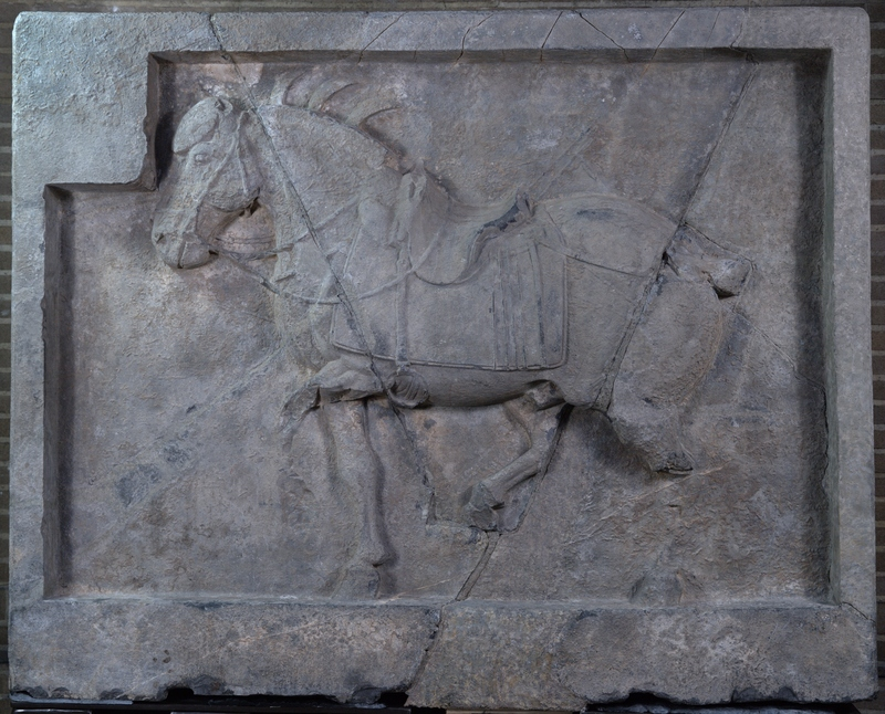 horse galloping in relief