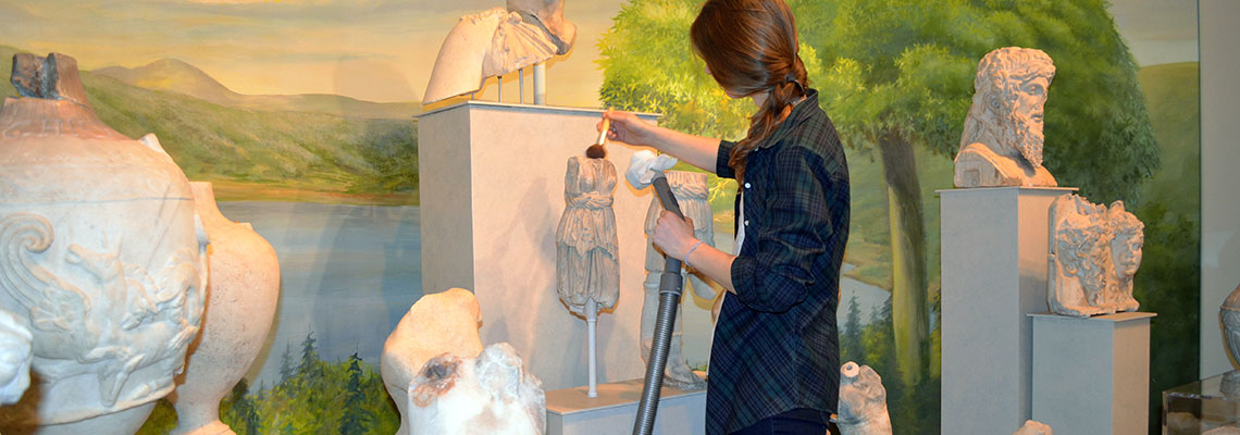 conservation department Gallery cleaning at the Penn Museum..