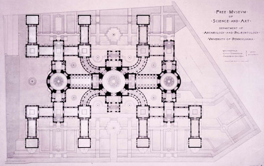 an old blueprint for the museum