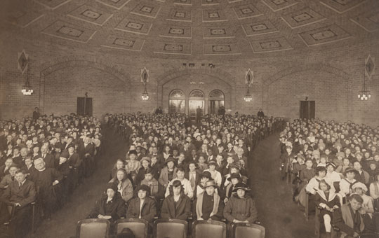 students seated in a lecture hall