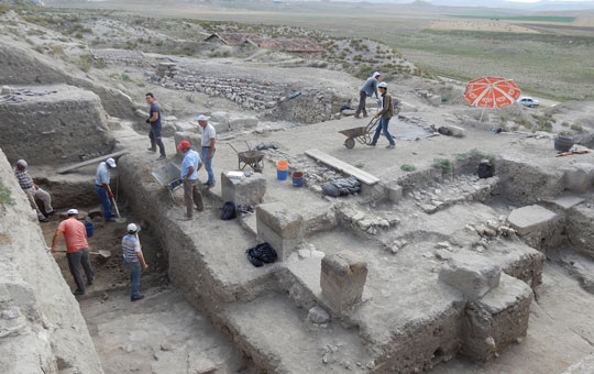A team of people excavating an area of Gordion.