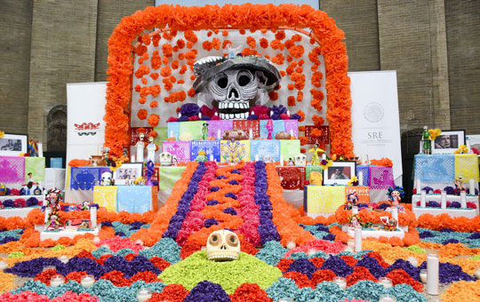 A large, colorfully decorated altar for Dia de los Muertos