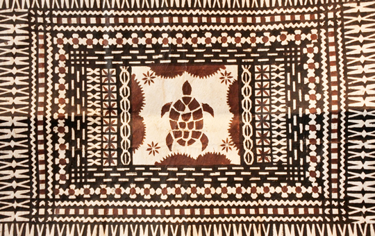 A tapa cloth with a depiction of a turtle.