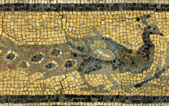 A mosaic of a peacock.