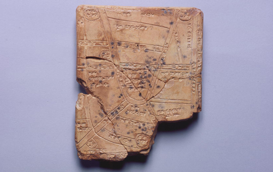 An ancient tablet map.