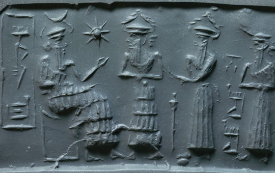 A cylinder seal showing three people before a seated king.