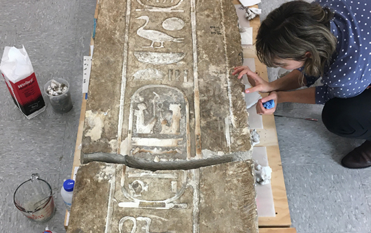 Conservation of an Egyptian monument.