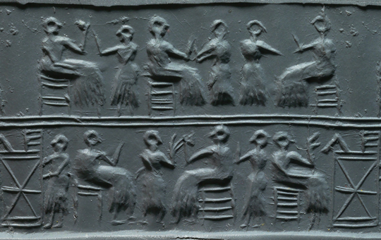A seal impression from a Babylonian cylinder seal.