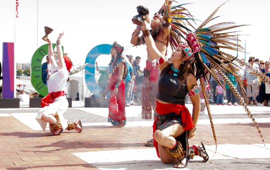 A traditional Aztec dance performance