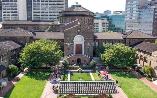 Aerial view of the Warden Garden at the Penn Museum
