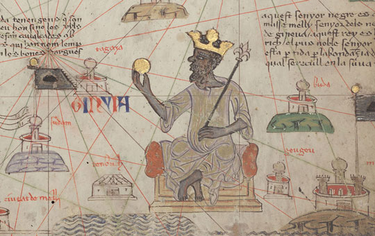 A portion of the Catalan Atlas depicting a king on a throne.