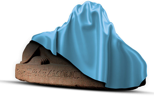 the sphinx with a blue drop cloth covering it as if under construction