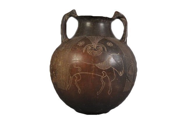 amphora with horses on it