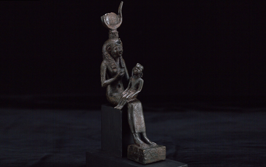 Bronze statuette of a seated Isis with Horus on her lap