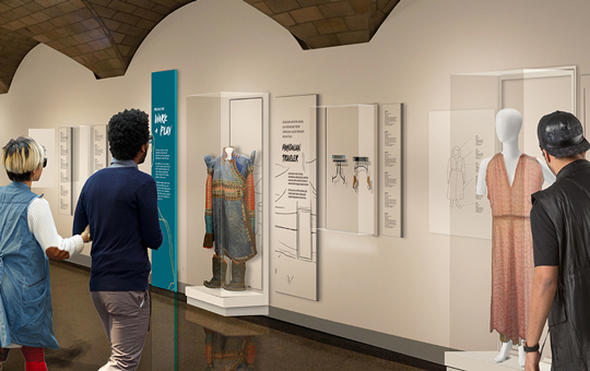 A digital rendering of how the Stories We Wear exhibition will look.