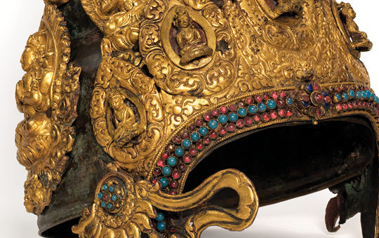 A jeweled crown worn by Nepalese Buddhist priests.