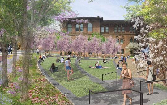 A rendering of what the Harrision Garden will look like when completed, showing flowering trees and a lawn.