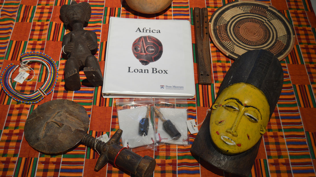 loan box with artifacts from africa