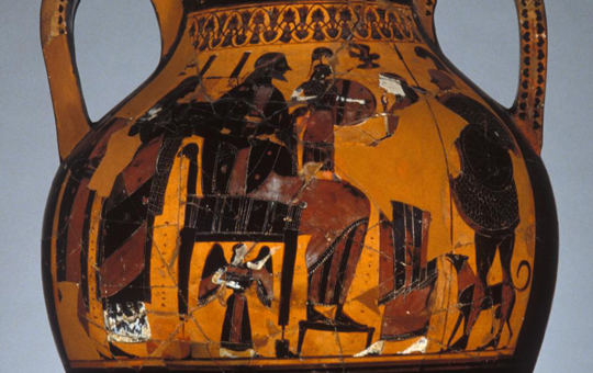 Depiction of the birth of Athena on an amphora.