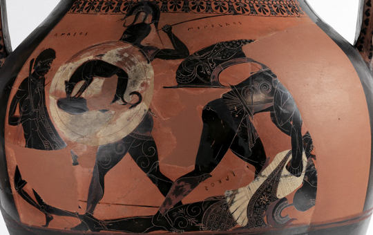 An amphora depicting ancient heroes in battle.