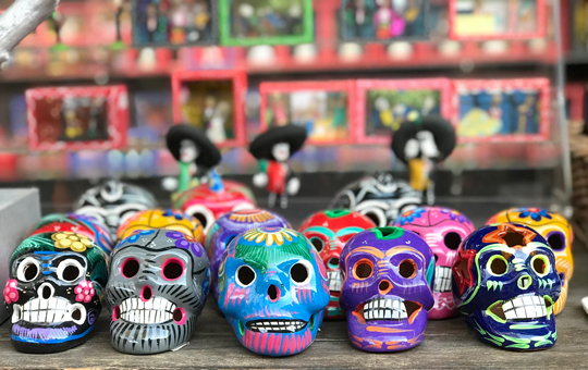 Skulls used in Day of the Dead celebrations