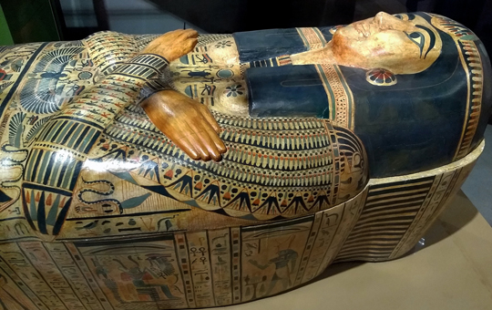 A decorated Egyptian sarcophagus