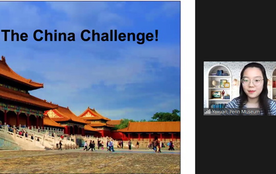 Screenshot showing a virtual international classroom session titled the China Challenge