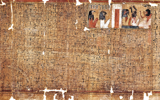 Papyrus with hieroglyphs and illustrations